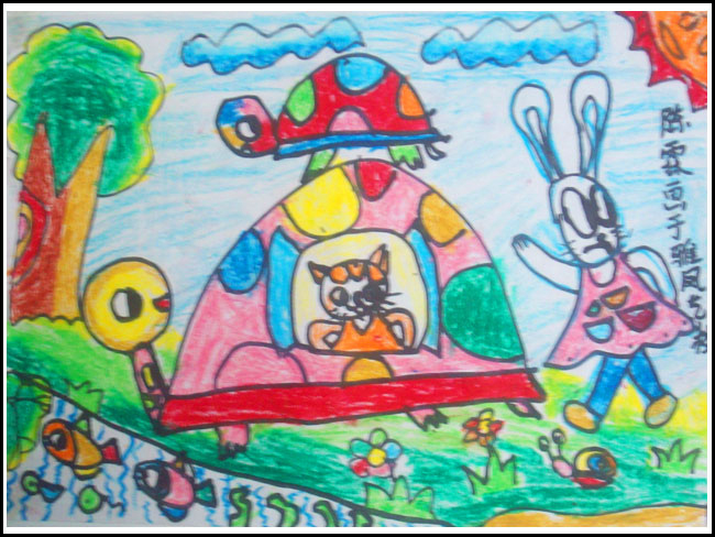 美丽的学校儿童画 美丽环境儿童画 美丽的窗帘儿童画 美丽与生活儿童画